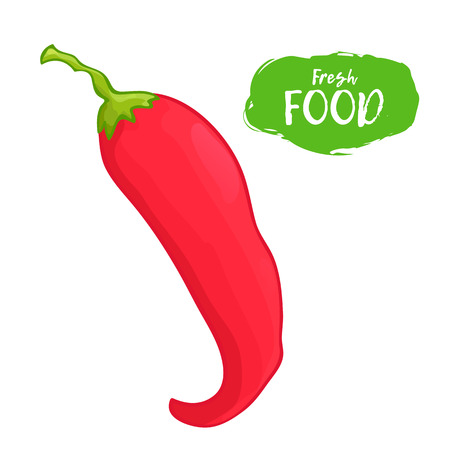 Colored illustration of hot pepper on a white background Stock Illustratie