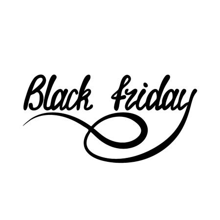 Black lettering inscription Black Friday on a white background. Stock Illustratie