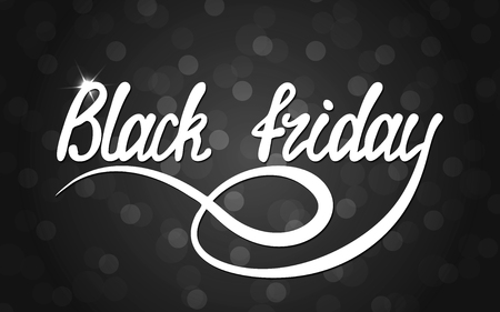 White lettering inscription with shadow Black Friday on a black background.