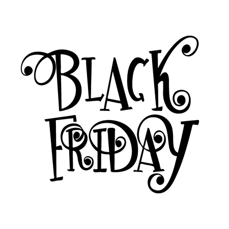 Vector black lettering inscription Black Friday on a white background. Curls, hand drawn text.
