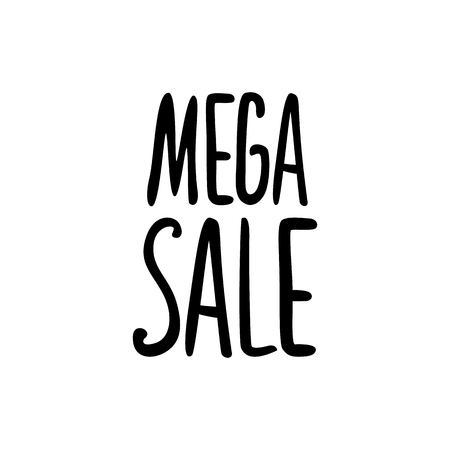 Vector black lettering inscription Mega sale on a white background . Hand drawn text. Stock Illustratie