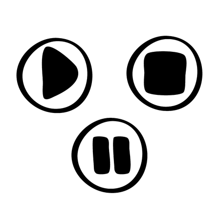 Set of black vector icons play, stop, pause. Hand drawn illustration.