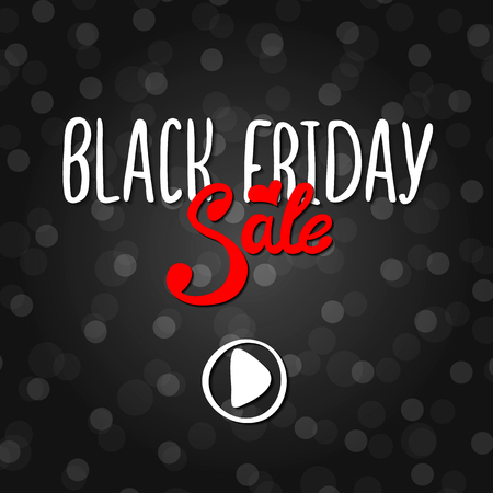 Vector black lettering inscription Black Friday with red word sale on a white background. Hand drawn text. Vector white black abstract background with circles of different size. Illusztráció