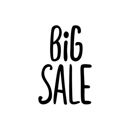 Vector black lettering inscription Big sale on a white background. Hand drawn text.