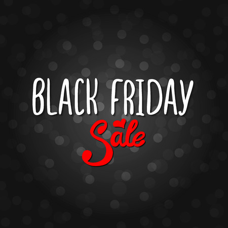 Vector black lettering inscription Black Friday with red word sale on a black background . Hand drawn text. Vector white black abstract background with circles of different size.
