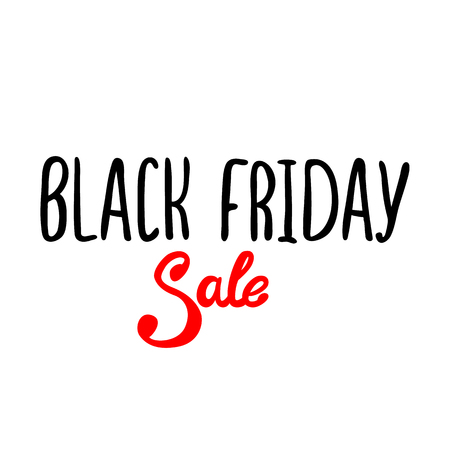 Vector black lettering inscription Black Friday with red word sale on a white background. Hand drawn text.