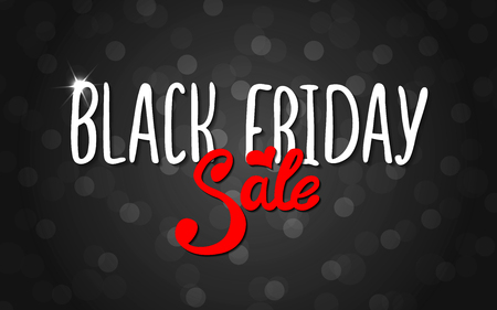 Vector black lettering inscription Black Friday with red word sale on a dark background. Hand drawn text. Vector white black abstract background with circles of different size.