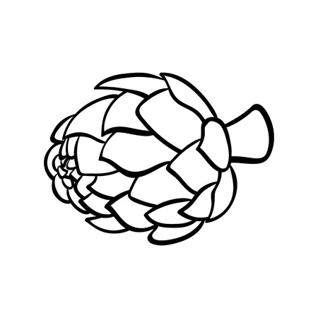 Vector hand drawn illustration of an artichoke. Outline doodle icon. Food sketch for print, web, mobile and infographics. Isolated on white background element. Stock Illustratie