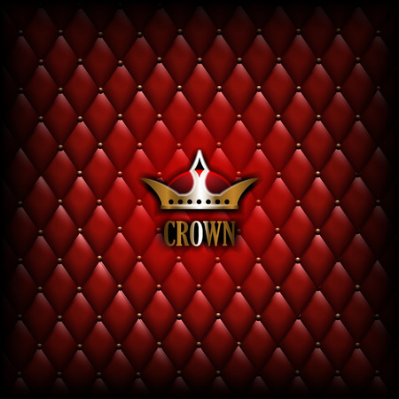 Vintage Crown logo on red leather wall background.