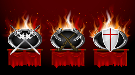 Set of medieval logos and red torn foldet banners. Realistic game style.