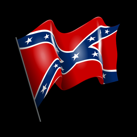 Waving Confederate American flag. Isolated on black.