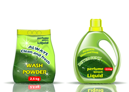 Washing powder. Liquid and powder of green color is flavored with additives