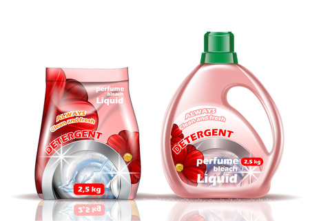Washing powder. Liquid and powder of rose color is flavored with additives Illustration