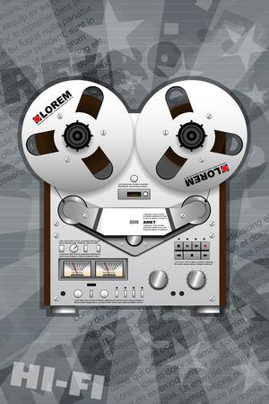 Vintage HiFi Tape Recorder. Layered and editable Ilustração