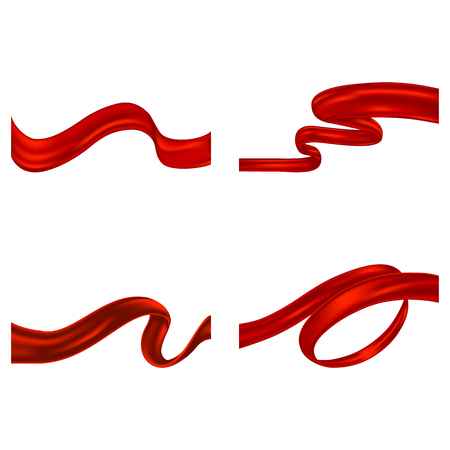 Set of Red Ribbons. Layered and editable