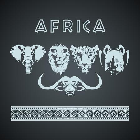 Vintage africano Big 5 Mock up. A strati e modificabile Vettoriali