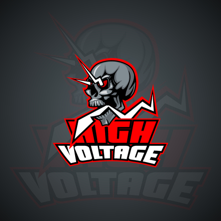 High Voltage skull Mock up. Layered and editable Illustration