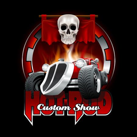 Hot Rod Custom Logo Mockup. Layered and editable