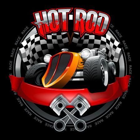 Vintage Hot Rod Logo Mockup. Layered and editable