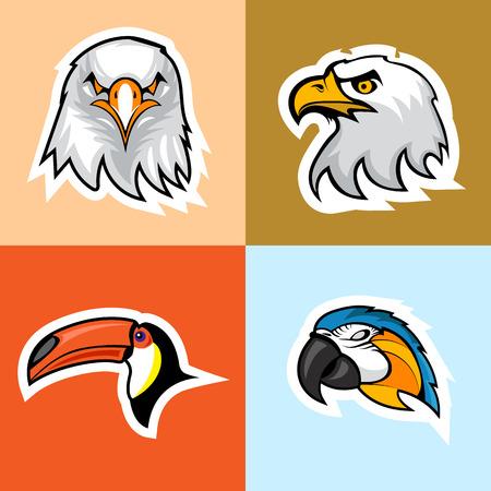 Set of Birds Head. Layered and editable Çizim