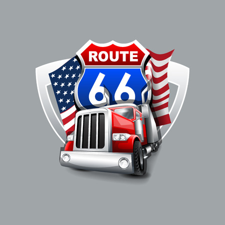 Route 66 Drivers club logo.  High Resolution vector file Çizim