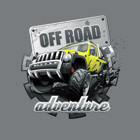 SUV-Abenteuer-Logo. Vektordatei mit hoher Auflösung