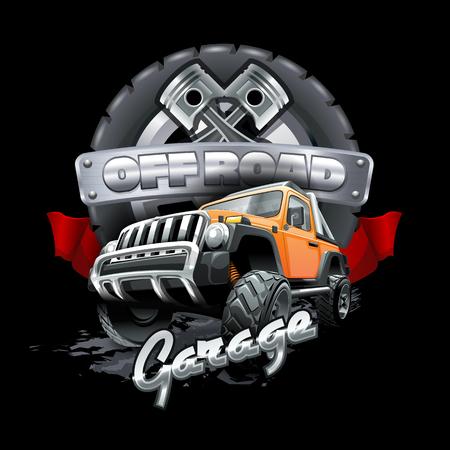 Off Road Garage-Logo. Vektordatei mit hoher Auflösung