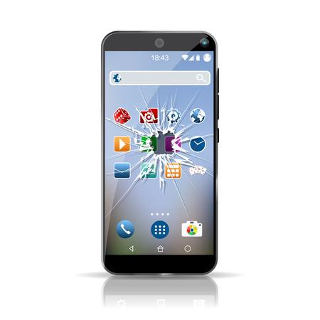Smartphone with broken screen mockup. High resolution vector Illustration