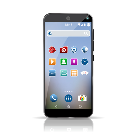 Smartphone with icons. High resolution vector