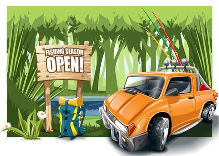 Orange cartoon off-road car with fishing equipment near the lake