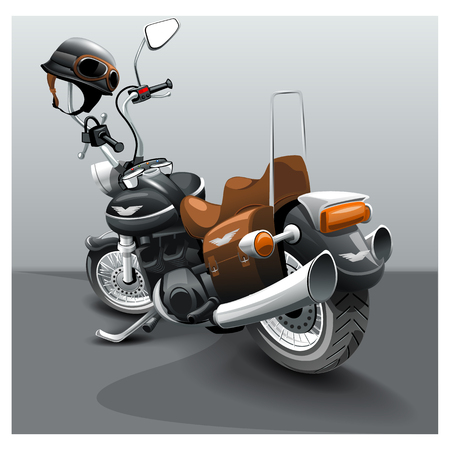 Vintage black classic motorcycle. Cartoon motorbike image.