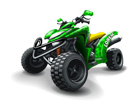 Quad bike, with camouflage stains on white background. Vetores