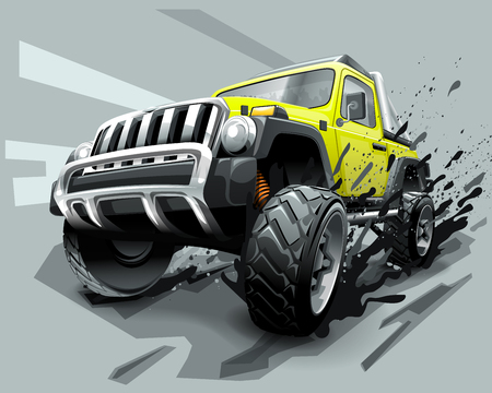 Extreme Off Road Vehicle SUV, dirt and bad weather Çizim