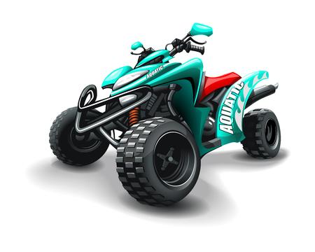 Turquoise colour quad bike, with Aquatic inscription, on white background. Vector Illustration