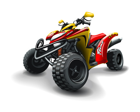 Red quad bike, on white background. EPS 10 Vector graphics. Layered and editable. Illustration