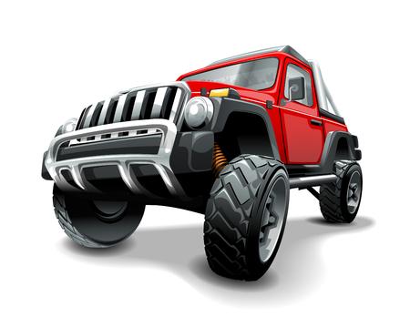 Extrem roter Geländewagen SUV. Isolierte Vektorillustration.