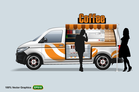 Coffee maker vehicle-van template, editable layout. Vector Illustration