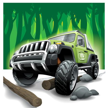 Off Road grünes Fahrzeug SUV, tiefe Dschungelschwierigkeiten.