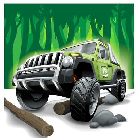 Off Road green Vehicle SUV, deep jungle difficulties.