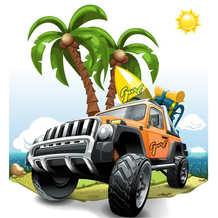 Naranja extrema SUV todoterreno en una playa. Ilustración de vector. Ilustración de vector