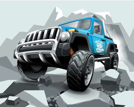 SUV véhicule tout terrain bleu extrême sur la montagne.