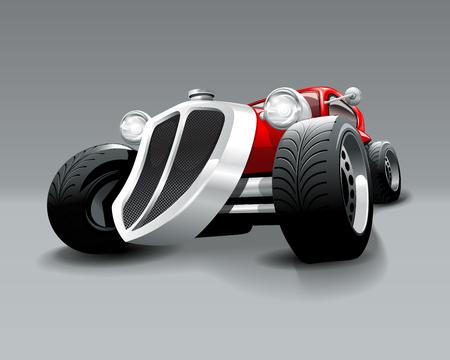 Vintage Hot Rod custom red classic car. Vector Illustration