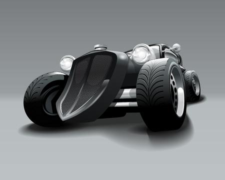 Vintage Hot Rod custom black classic car. Vector Illustration