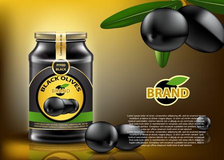Black Olive can ads mockup.  High resolution vector Illustration
