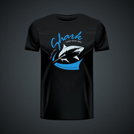 Maqueta de camiseta Vintage Shark. Vector de alta resolución Ilustración de vector