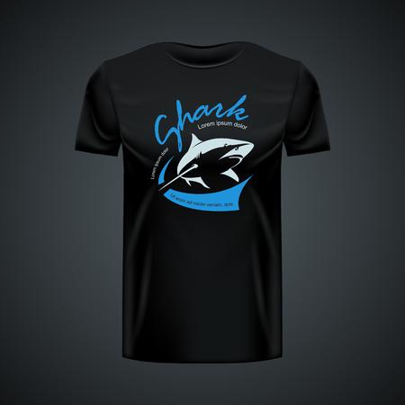 Vintage Shark T-shirt mockup. High resolution vector Vector Illustration