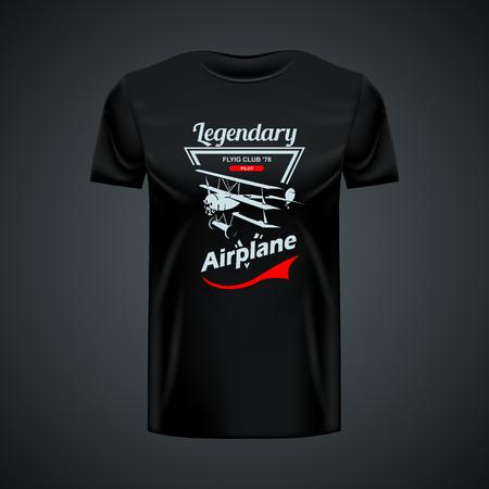 Vintage Triplane T-shirt mockup. High resolution vector Иллюстрация