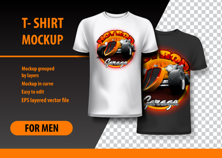 Hot Rod Garage T-shirt mockup. High resolution vector Vettoriali