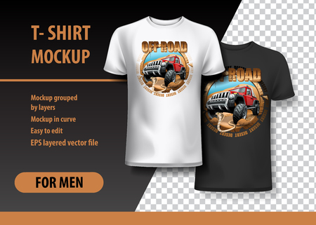 Disert Off-Road T-shirt mockup. High resolution vector