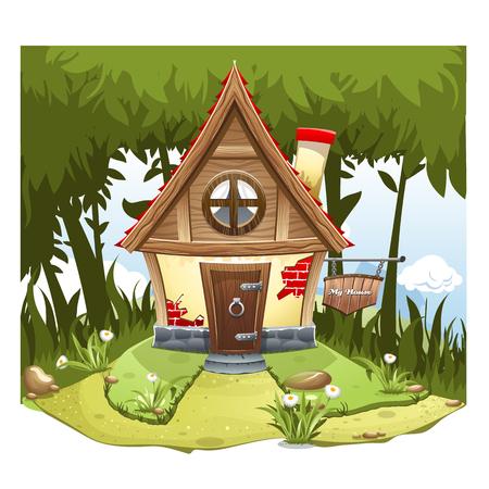 Cartoon Fairy house. High resolution vector Vettoriali